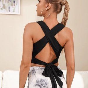 Tops - black tie back crop top